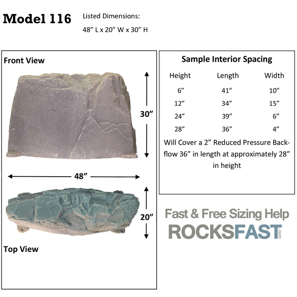 Dekorra Model 116 Mock Rock Backflow Insulation Cover