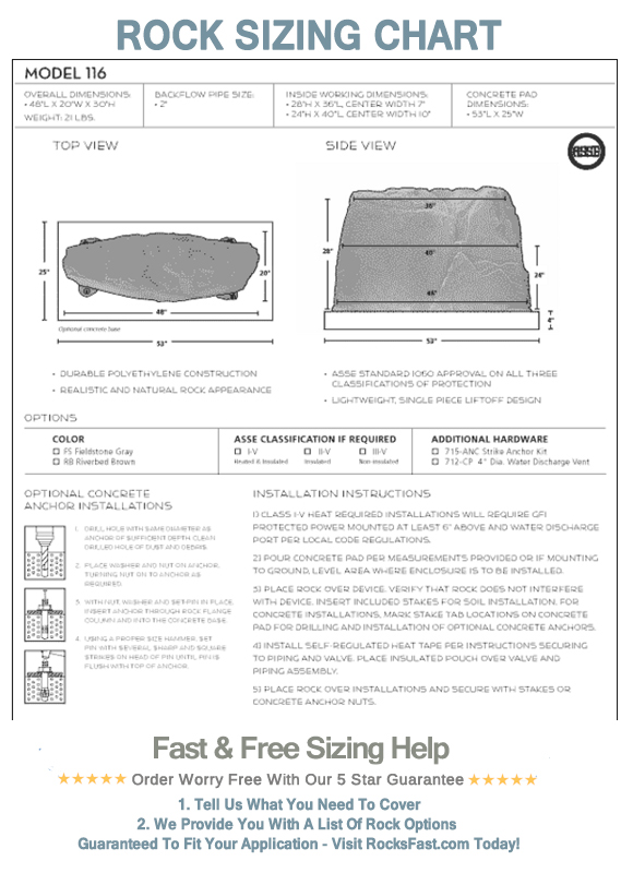 Fake Rock Backflow Cover Model 116