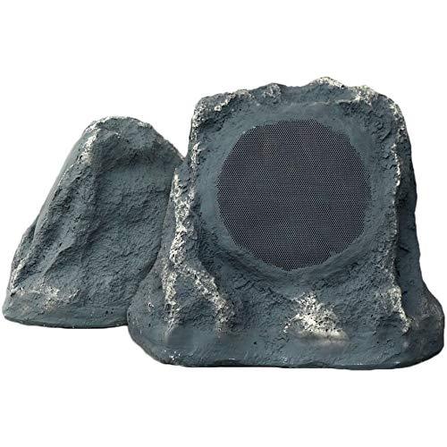 bluetooth outdoor grey slate rock speaker pair